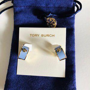 Tory Burch Kira Enamel Huggie Hoop Earrings Blue